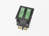 Переключатель KCD3-201N11CGK (KCD4) On-Off 250V 16A зеленый (6c) двойной