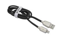 55732 Кабель ACD-Allure USB 2.0 AM-iPhone 5/5S/6/6+/6S/6S+/7/7+ Lightning, ACD-U926-P5B, 1.0м черный (оплетка - иск.кожа)