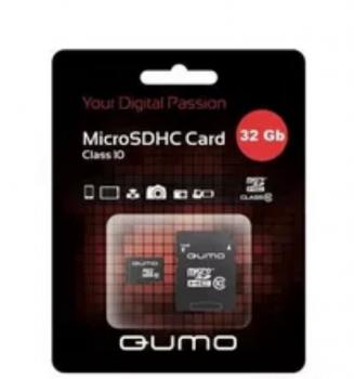 24629 Карта памяти Qumo microSDHC 32Gb Class10 (черно-зеленый)
