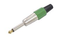 """Разъем аудио 6.3mm """"шт"""" моно цанга зеленый gold 1-118G GR"""