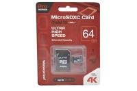 24628 Карта памяти Qumo microSDXC 64Gb Class10 с адаптером UHS-I U3 (черно-красный)