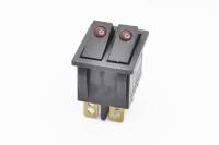 Переключатель KCD3-2201-C (KCD3) On-Off 250V 15A черный, красный светодиод (6c) двойной