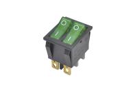 Переключатель KCD4-202N On-Off зеленый 250V 16A (6c) двойной