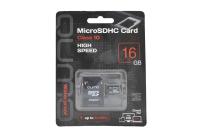 17560 Карта памяти Qumo microSD 16Gb Class10 с адаптером (черно-красный)