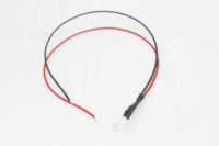 Светодиод  5мм с проводами 20см - белый (12V 20mA 6000-6500mcd 120*)