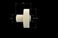 Шестерня c металлической вставкой для мясорубки Vitek/Panasonic/Polaris/Moulinex, Д-45/17мм, зубья 54/16шт. (Косой/прямой)