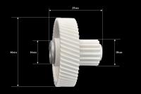 Шестерня c металлической вставкой для мясорубки Vitek/Panasonic/Polaris/Moulinex, Д-46/17мм, зубья 54/16шт. (косой/прямой)