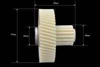 Шестерня c металлической вставкой для мясорубки Vitek/Panasonic/Polaris/Moulinex, Д-47/17мм, зубья 54/16шт. (косой/прямой)