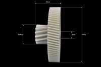Шестерня Panasonic/Polaris, Д-78/28мм, зубья 78/14шт. (Косой/косой) ответная часть к шестерне с мет. валом, Д-82мм (косые зубья)