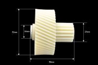 Шестерня c металлической вставкой для мясорубок Vitek/Panasonic/Dex, Д-52/22мм, зубья 47/16шт. (косой/прямой)