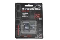 18742 Карта памяти Qumo microSD 32Gb Class10 с адаптером UHS-3.0 (черно-красный)
