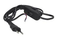 860001 Шнур для бра с выключателем Прогресс 1,7м 2х0,5мм2 черный