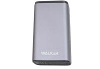 20239 Портативное зарядное устройство Walker WB-710QC 10000mA-ч, Li-Pol, QC3.0, 18Вт, USBx2, Type-C, дисплей, металл, серое