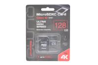 20585 Карта памяти Qumo microSDXC 128Gb UHS-I, 3.0 с адаптером SD (черно-красная)