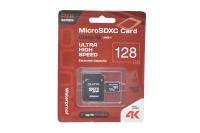 24627 Карта памяти Qumo microSDXC 128Gb 90/70МБ/с UHS-I, U3, Pro sera3.0 с адаптером SD (красная)