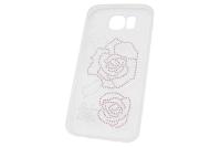 """Чехол """"Carol с впаянными кристаллами"""" Цветок Samsung Galaxy S6  00-184"""