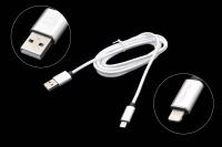 22237 Кабель Qumo MFI C48 USB-Apple 8pin опл. нейлон 2.0м серебро