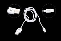 21710 Кабель Qumo MFI C48 USB-Apple 8pin опл. метал. пружина, 1.0м белый