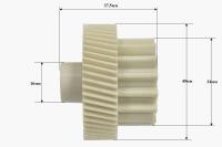 Шестерня для мясорубки Vitek/Saturn/Elbee/Delfa/Magnit/Rrolsen/Erisson, Д- 45/34мм, зубья 54/15шт. (косой/прямой)