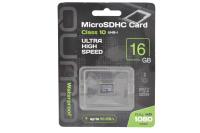 24630 Карта памяти Qumo microSDHC 16Gb Class10 (черно-зеленый)
