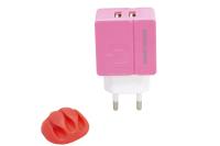 Сетевое зарядное устройство More choice NC46 2USB 2.4A pink