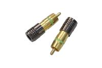 "Разъем RCA ""шт"" металл gold на кабель (2шт) 1-206G"